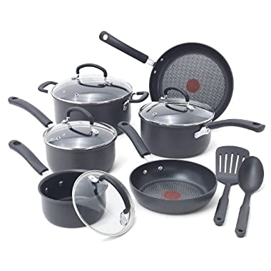 T-fal E918SC / E765SC Ultimate Hard Anodized Durable Nonstick Expert Interior Thermo-Spot Heat Indicator Anti-Warp Base Dishwasher Safe PFOA Free Oven Safe Cookware Set, 12-Piece, Gray