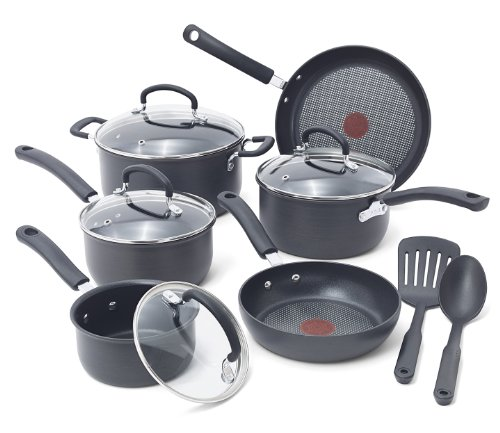 T-fal E765SC Ultimate Hard Anodized Scratch Resistant Titanium Nonstick Thermo-Spot Heat Indicator Anti-Warp Base Dishwasher Safe Oven Safe PFOA Free Cookware Set, 12-Piece, - Glasses From Costco