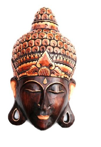 Buddha Mask Wooden Wall Hanging Decor Buddha Statue Meditation,
