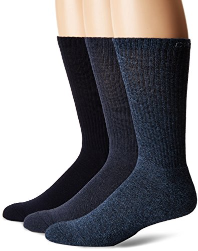 Chaps Men's Assorted Solid Mock Rib Casual Crew Socks (3 Pack), Denim, Shoe Size: ()