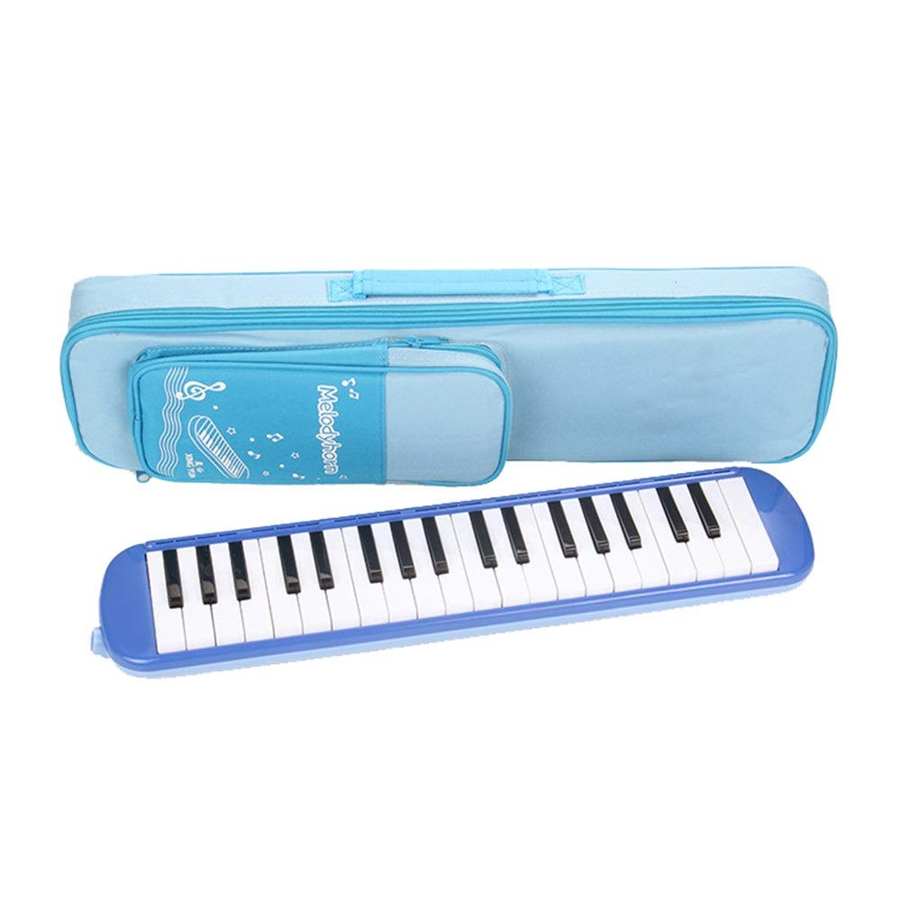 Melodica Musical Instrument Beginners Kids Musical Instrument 37 Keys Portable Pianica Melodicas With Carrying Bag Gift Toys For Music Lovers Mouthpieces Tube Sets Black Blue Pink for Music Lovers Beg