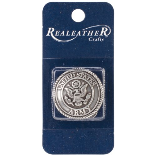 - Realeather Crafts Concho Antique Silver US Army Embellishment, 1.25-Inch