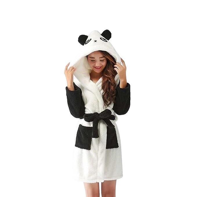 BESTOYARD Pijamas de Franela Cálida de Invierno Patrón de Panda Encantadora Linda de La Historieta Invierno
