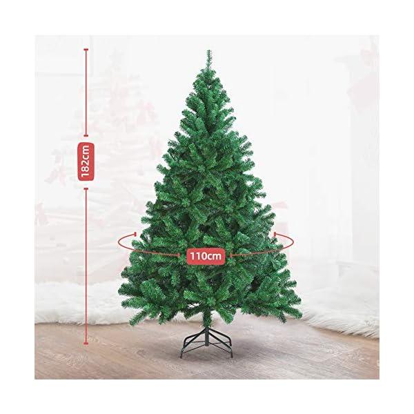 OUSFOT Albero di Natale 180cm con Custodia 800 Rami Supporto Pieghevole in Metallo Alberi di Natale Artificiale PVC Facile da Montare per Natalizie Decorazioni da Interno e All'aperto 5 spesavip