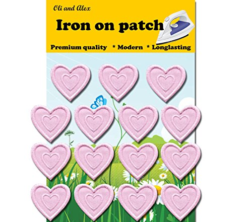 Light Pink Heart (Iron On Patches - Light Pink Heart Patch 15 pcs Iron On Patch Embroidered Applique 1.29 x 1.22 inches (3.2 x 3.1 cm))