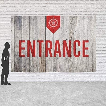 Nautical Wood Heavy-Duty Outdoor Vinyl Banner CGSignLab Entrance 9x6