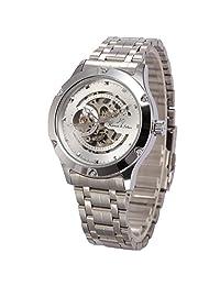 KS Navigator Skeleton White Dial Automatic Men's Mechanical Silver Steel Waterproof Watch KS206