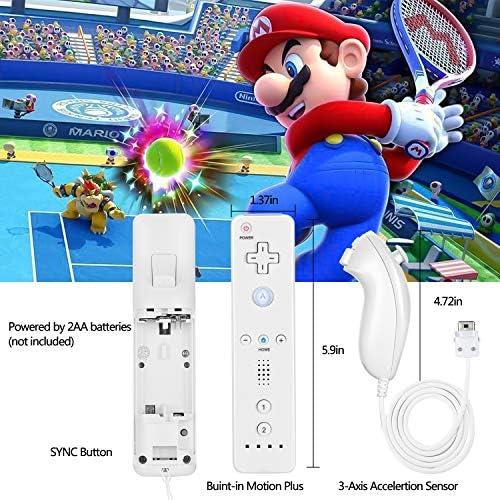 SogYupk - Mando a distancia Wii con Nunchaku Joystick, utilizado para Nintendo Wii y Wii U Consola, Gamepad con funda de silicona y correa de muñeca (1 juego), color blanco 7