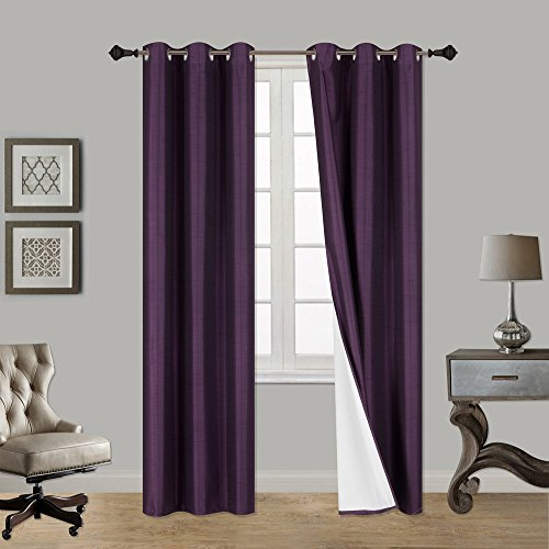 LuxuryDiscounts 2 Piece Thick Faux Silk Blackout Insulated Room Darkening Grommet Top Window Curtain Panel Drapes with Foam Back Layer Protection (Purple, 37