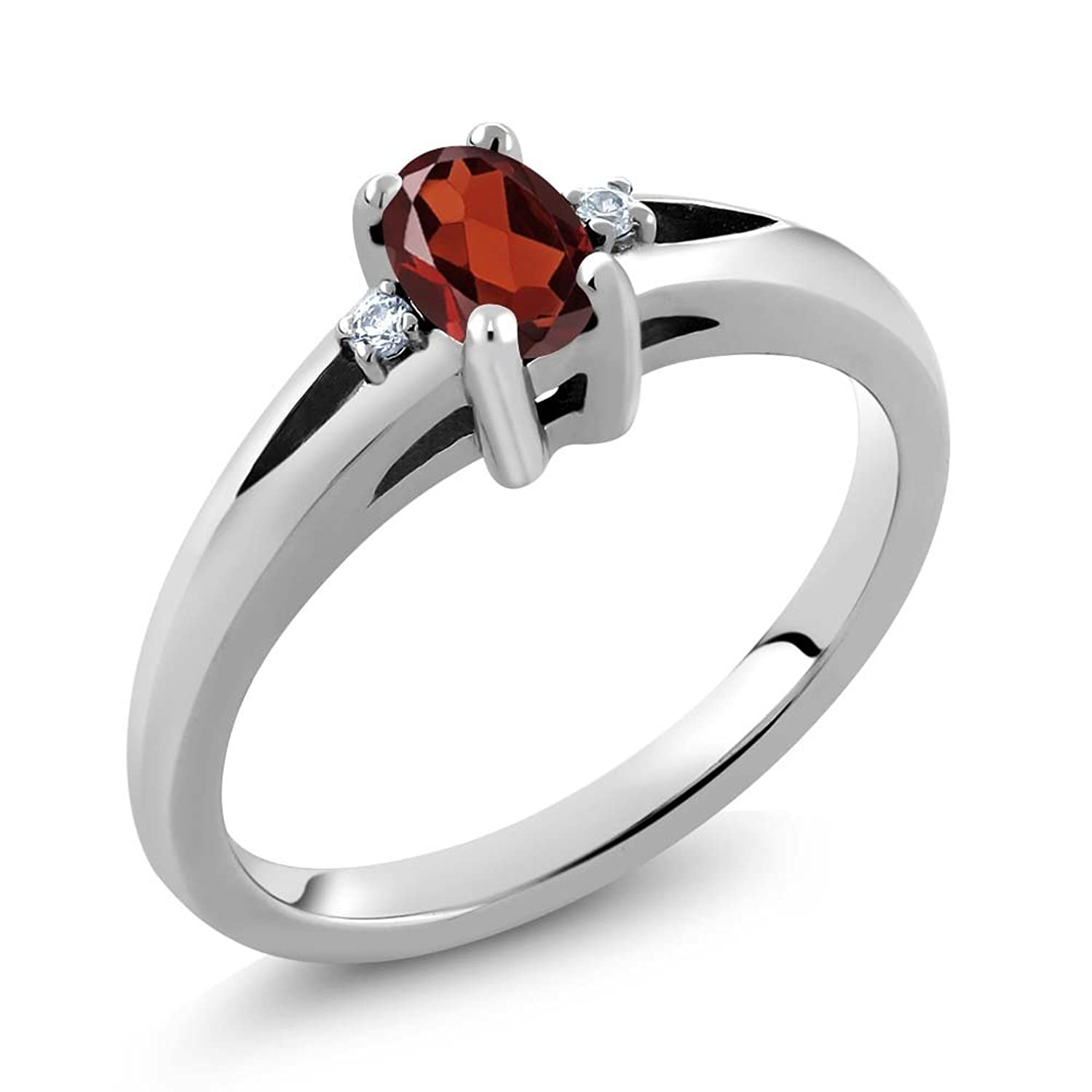 0.58 Ct Oval Red Garnet 925 Sterling Silver Ring (Available in size 5,6,7,8,9)