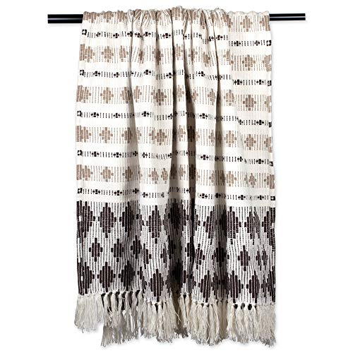 (DII Classic Colby Southwest Cotton Handwoven Stripe Blanket Throw with Fringe for Chair, Couch Picnic, BBQ, Camping, Beach, 50 x 60, Dark Brown & Stone)