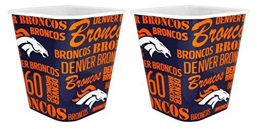 Denver Broncos 3 Liter Reusable Plastic Snack Bucket 2 Pack