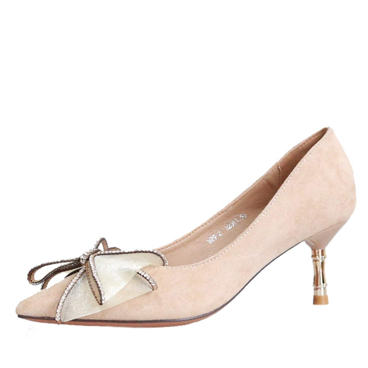 KPHY Damenschuhe/Herbst Eleganten Bogen Temperament Damenschuhe Gut Mit Dem Nahen Moderne Bohrer Spitze Flache Schuhe.37 Schwarz