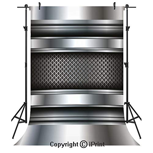 - Silver Photography Backdrops,Realistic Vivid Looking Steel Plates Image Heavy Industry Technology Themed Print Decorative,Birthday Party Seamless Photo Studio Booth Background Banner 6x9ft,Gray Taupe