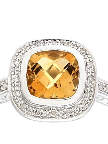Revoni - Bague en or blanc 9 carats, citrine taille coussin et diamants