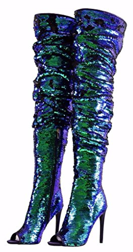 Women's Fashion Peep Toe Sparkle Sequins Thigh High Over Knee Pupms Heel Christmas Party Dance Boots Blue Size 9 EU41
