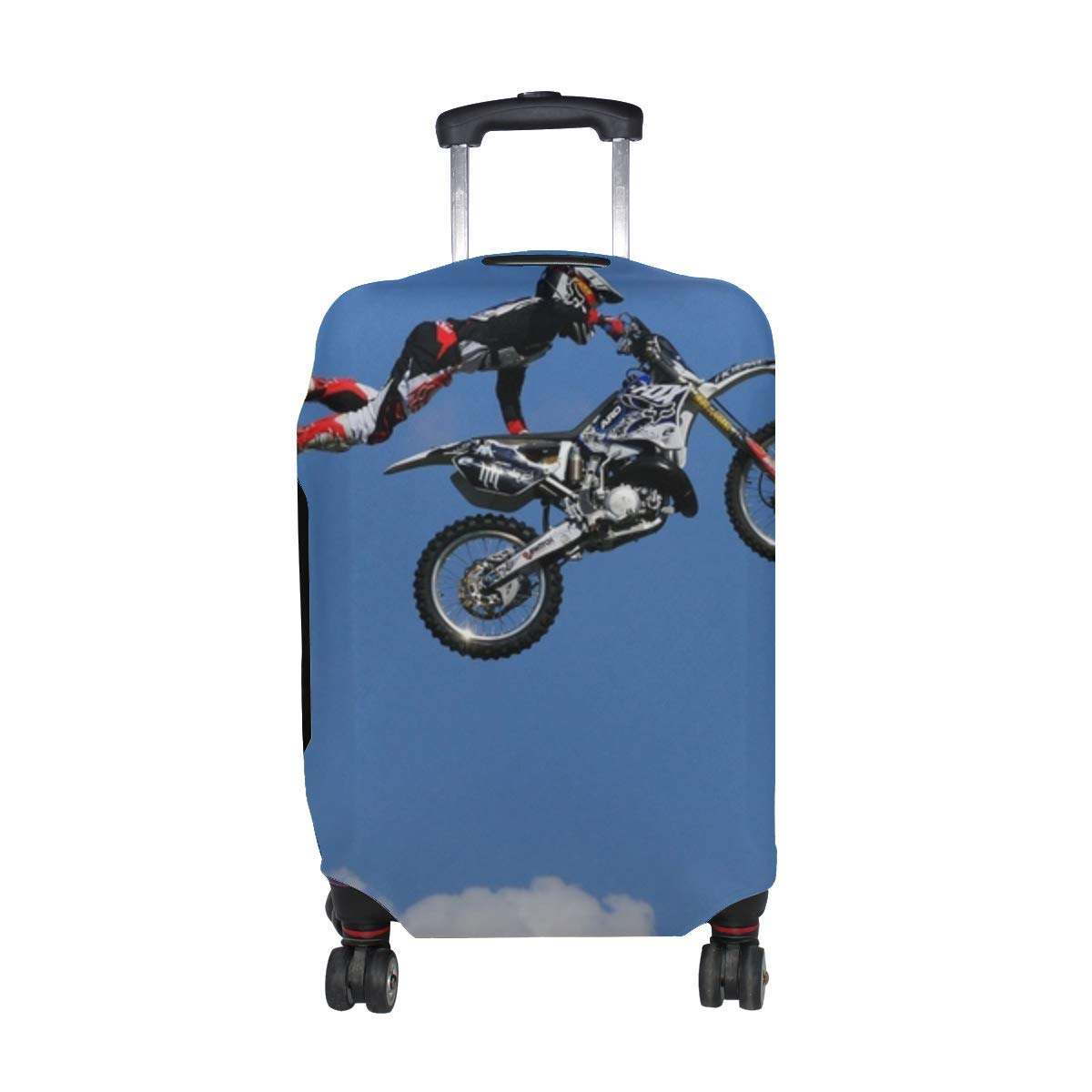 Man Jump Motocross Motorcycle Pattern Print Travel Luggage Protector Baggage Suitcase Cover Fits 18-21 Inch Luggage
