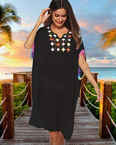 3eea699508 sanatty Women Swimsuit Cover Ups Dress Bathing Suit Cover Ups Hook  Stitching Colored Fringed Beach Dress