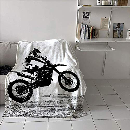 WilliamsDecor Dirt Bike Lightweight Blanket,Rider Participating Motocross Championship Silhouette Image Dangerous Sports,Print Summer Quilt Comforter,Digital Printing Blanket 40