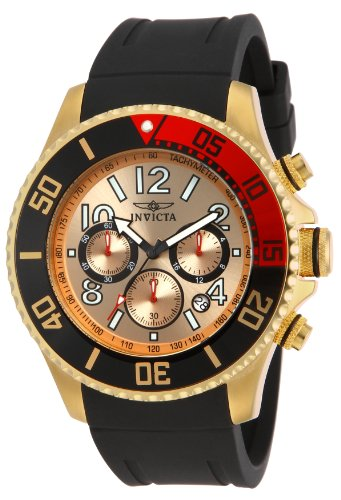 Invicta Men s 15146 Pro Diver 18k Gold Ion-Plated Stainless Steel Watch with Black Silicone Band
