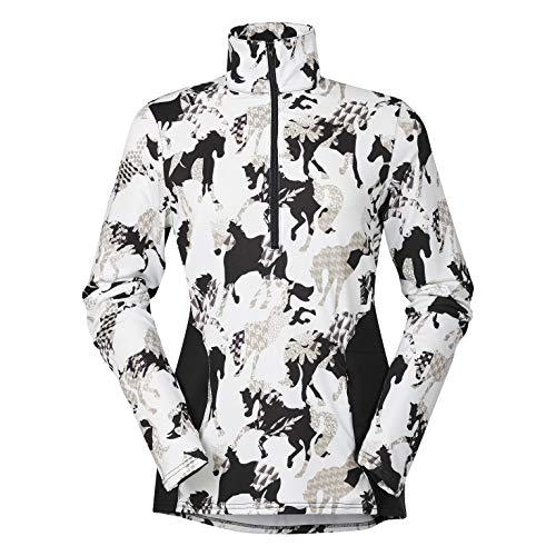 Shirt Neck Zip Fleece (Kerrits Protek Fleece Zip Neck Ivory Horseplay Size: Small)