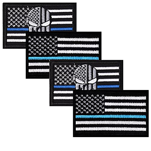 Harsgs USA Flag Patches Bundle, Hook & Loop Tactical Morale Patch Full Embroidery Military Patch for Caps Bags Vests Military Uniforms,Pack of 4, Blue Line