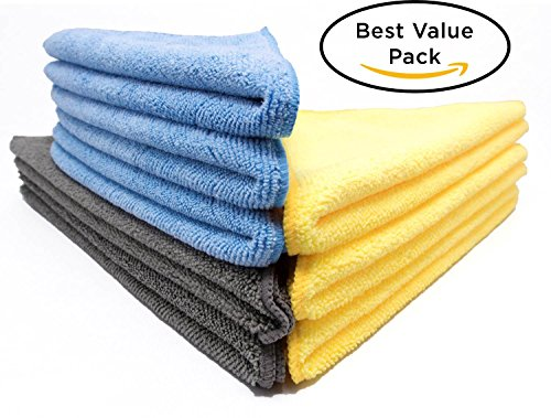 High Quality Split Microfiber Cleaning Cloths - Professional Grade All Purpose 8 Cloths (+2) Cleaning Kit (3 sizes, 3 colors) by CLEAN SWEEP Microfiber Products