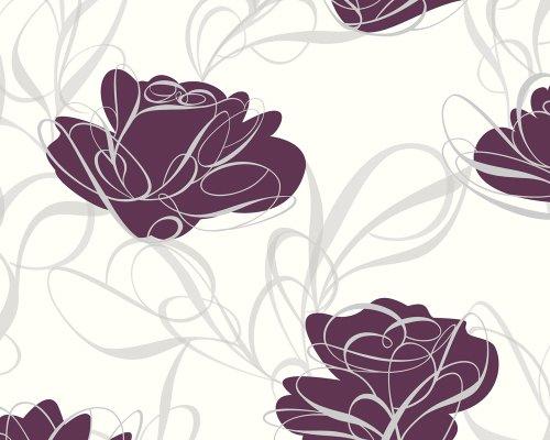 Livingwalls 131928 Vliestapete Fairyland Mustertapete Floral Weiss Grau Lila Amazonde Baumarkt