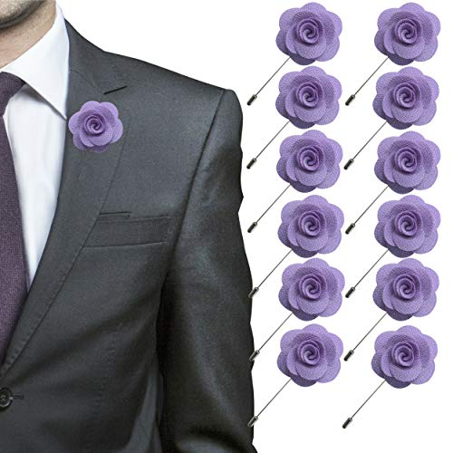 (JLIKA Lapel Flower Pin Rose for Wedding Boutonniere Stick (Set of 12 PINS) (Lavender))