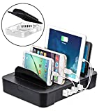 Okra 6-Port USB 2-in-1 Charging Station + Removable Hub Universal Desktop Tablet & Smartphone Multi-Device Hub Charging Dock for iPhone, iPad, Galaxy, Tablets (Black)
