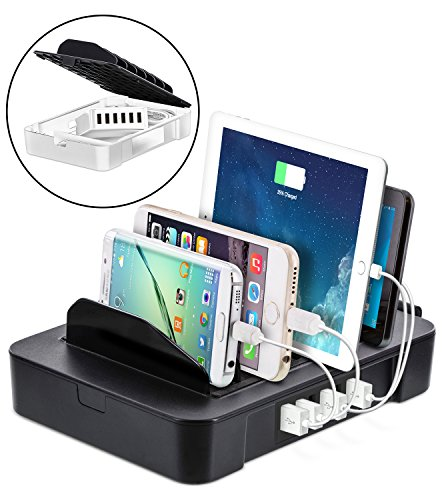 Okra USB Charging Station for Multiple Devices, 6 Port USB Wall Charger Charging Hub with Docking Station Organizer for Phone Tablet iPhone iPad (Black)