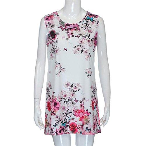 Robe Sans CYBERRY Mini Imprim Courte Femmes M Vintage D't Blanc Manches Boho IF16xFz