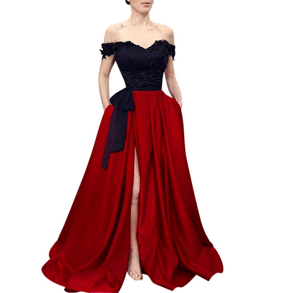 Black Wine Red Kivary Beaded Lace Off The Shoulder Black Top Long Front Slit Evening Prom Dress
