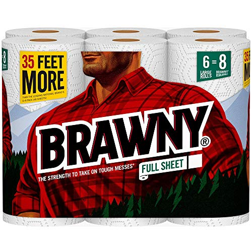 Brawny Paper Towels, Full Sheet, 6 Large Rolls, White, 6 = 8 Regular Rolls