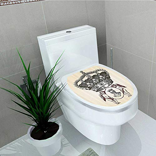 Printsonne Toilet Seat Wall Stickers Paper Shield Crest Badge Medalli Angel Royal Decals DIY Decoration W14 x L16