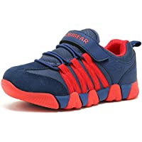 KALUQI Boy Sneakers Hook and Loop Kids Sports Running Shoes Comfortable Lightweight