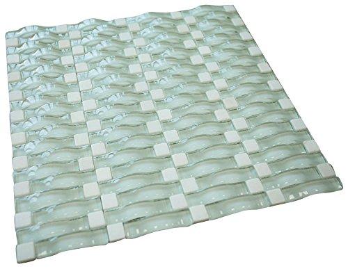 Aqua Green Glossy Sea Wave Glass Mosaic Tile for Bathroom and Kitchen Walls Kitchen Backsplashes
