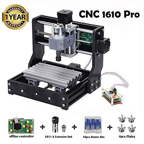 Upgraded CNC 1610 Pro GRBL Control Engraving Machine, 3 Axis Mini Wood PCB PVC Milling Carving Machine + 10pcs CNC Router Bits + 4 Sets CNC Plates + Offline Controller(1610PRO)