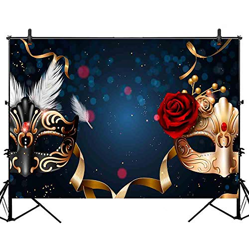 Allenjoy 7x5ft Black and Gold Mardi Gras Mask Carnival Backdrop Mysterious Masquerade Birthday Dancing Party Photography Background Wedding Sweet 16 Photo Shoot Decoration for Photo Studio Props ()