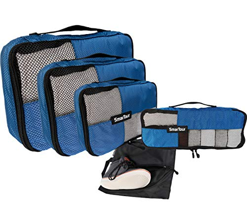 SmarTour Suitcase Packing Cubes Set for Travel– 5 Pieces Luggage Organizer with Shoe Bag (Blue)