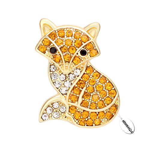 Fox Gold Brooch - NOUMANDA Crystal Rhinestone Gold-Plated Brooch Fashion Fox Women Christmas Gift Jewelry (gold)