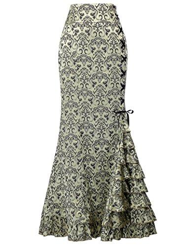 Mermaid Ladies Poque Belle Jacquard Clair BP204 Fishtail Vintage Vert ceinture rtro Ruffle longue Jupe style haute victorienne 4PqBgqw