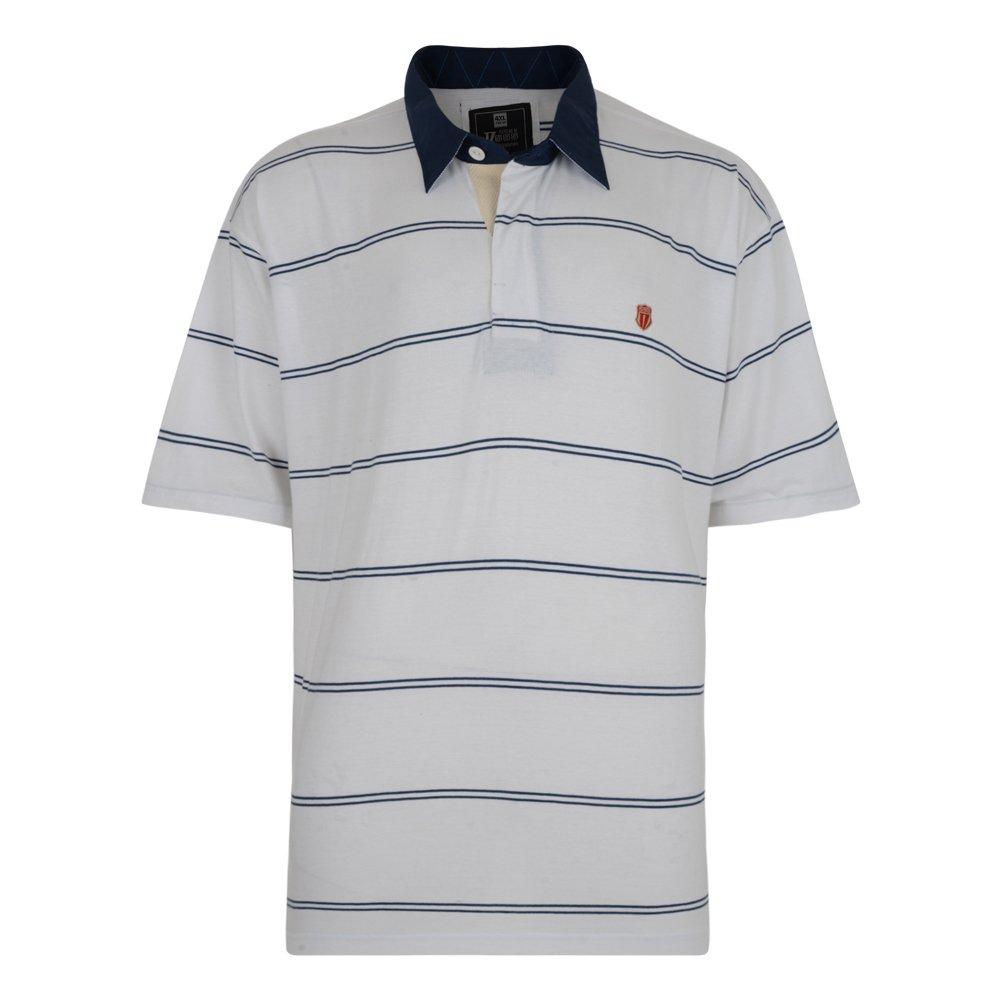 Duke Mens Kingsize Twin Stripe White Short Sleeve Rugby Polo ...