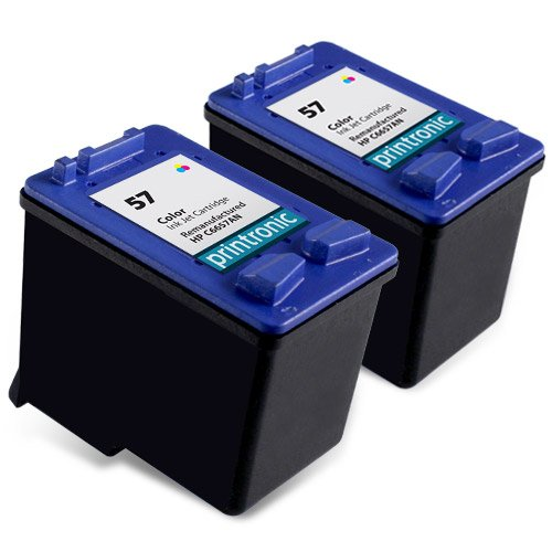 Printronic 2 Pack Remanufactured HP 57 Ink Cartridge for PSC 1315 1210 1350 Deskjet 5550 5150 450 5650 PhotoSmart 7760 Printers (2 Color)