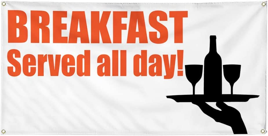 One Banner Vinyl Banner Sign Breakfast Served All Day #1 Lifestyle Marketing Advertising Orange 8 Grommets 44inx110in Multiple Sizes Available