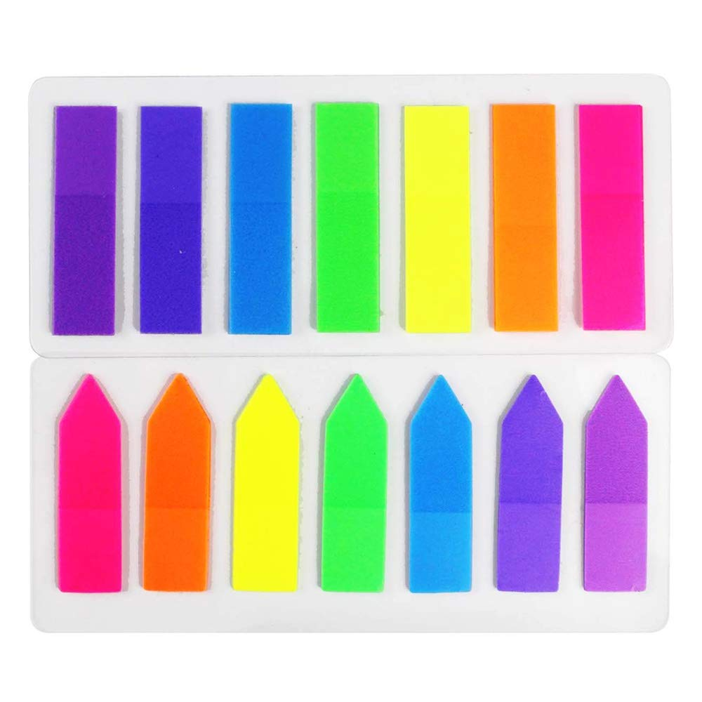 LoveS 2 Sets Neon Page Marker Colored Index Tabs Flags Fluorescent Sticky Note for Marking for Page Marker 280 Pieces
