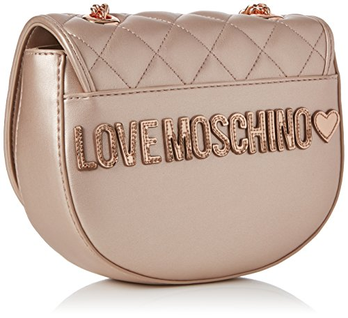 Love Moschino Borsa Quilted Metallic Pu Rame - Borse Baguette Donna, Marrone (Copper), 6x16x20 cm (B x H T)
