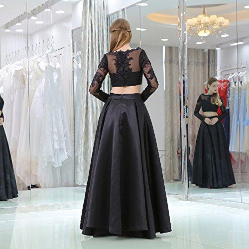 Les Femmes Du Centre Commercial Brl Est Une Ligne Deux Morceaux De Bal Robes De Soirée À Manches Longues Robe Noire