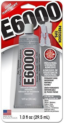 Glue W/Tips E6000 1oz,Clear,2 Pack ()