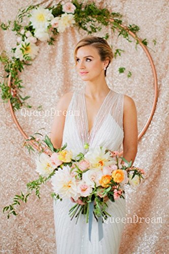 QueenDream sequin backdrop 2 Pieces 2ftx7ft champagne sequin backdround shimmer wedding backdrop sequin party backdrop
